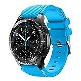 Fulltime® Sport Silikon Armband Armbanduhr Armband für Samsung Gear S3 Frontier Smartwatch mit klassischen Gürtelschnalle, 140-250mm x 22mm (Hellblau)