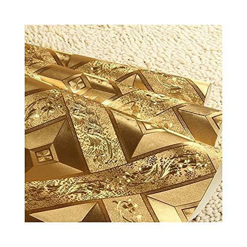Goldfolie Tapete Luxus Klassische 3D Stereoscopic Golden Square Gitter KTV Bar Decke Tapete Wandverkleidung (Dimensions : 0.53cm×10m) (Wandverkleidungen Für Bäder)