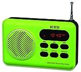 iCES IMPR-112 UKW Radio tragbar mit Akku (USB, SD-Kartenleser, Senderspeicher, LED-Display, Kopfhörerbuchse, Teleskopantenne), grün