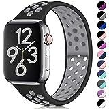Hamile Cinturino Compatibile con Apple Watch 42mm 44mm, Due Colori Morbido Silicone Traspirante Cinturini Sportiva di Ricambio per Apple Watch Series 5/4/3/2/1 S/M Nero/Grigio
