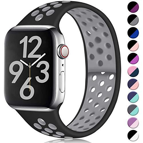Hamile Kompatibel für Apple Watch Armband 42mm 44mm,Dual Farbe Weiches Silikon Atmungsaktiv Sportarmband für Apple Watch Series 5 Series 4 Series 3 Series 2 Series 1, M/L Schwarz/Grau