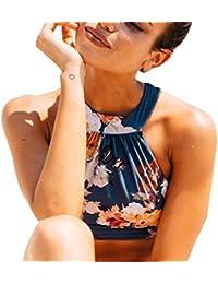 DFXIU Bagno Blu Donna Bikini Vintage Sexy Pad Fiori Costumi Costume Donna  Mare Due Pezzi ( b14cca9eb286