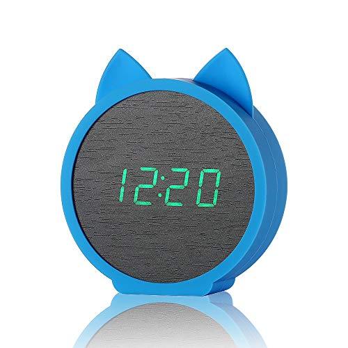 Geschwindigkeit Lesen, Digitale Thermometer (ZUEN Digitaler Wecker USB Lade Holz Elektronische LED-Anzeige Wecker Snooze Time Thermometer,Blue,D)