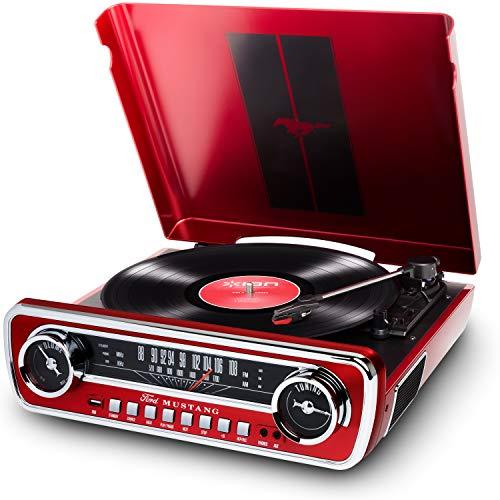 ION Audio Mustang LP -USB Plattenspieler mit Lautsprecher / Schallplattenspieler Retro mit Radio, Aux-Eingang und Vinyl zu MP3 Kovertierungssoftware,  roter Lack - ein Muss für alle Ford Mustang Fans