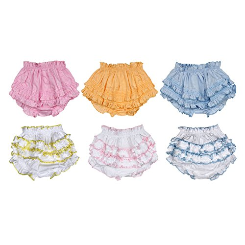 Littly Baby Girls' Regular Fit Plain Bloomer (Pack of 6) (10259-LISIBPMXM_Pink, Blue, Peach, White_6-12 Months)