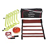 Fitness Training Set - Perfect for Personal Training, Exercise and Strength - Home Gym Fitness Equipment - Includes 6x Hurdles, 1x Fabric Agility Ladder, 20x Marker Cones, 1x Skipping Rope, Supplied in Carry Bag