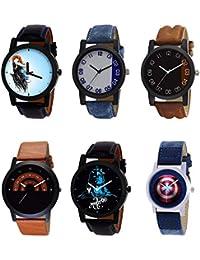 NIKOLA Latest 3D Design Mahadev Captain America Black Blue And Brown Color 6 Watch Combo (B22-B40-B36-B46-B23-...