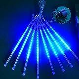 Meteor LED-Duschlichter, 220 V, wasserdicht, Fallende Regen, 50 cm, 8 Röhren, Eiszapfen-Lichterkette, Schneefall, Weihnachtsbeleuchtung für Neujahr, Weihnachtsbaum us plug blau