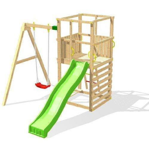 Chalet-Jardin 05-F703469 Funny Toboggan Aire de Jeux en Bois Bois Naturel 234 x 328 x 240 cm