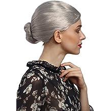 WIG ME UP ® - 90910-ZA68A Perruque Mesdames carnaval grand-mère institutrice gouvernante gris âgé chignon