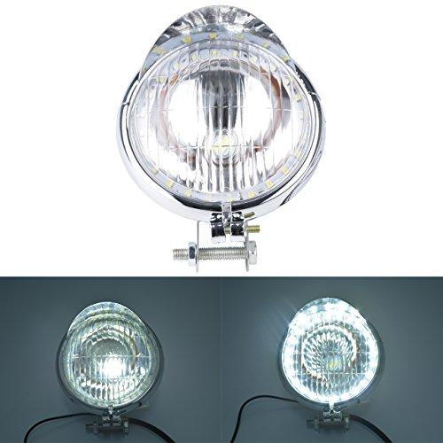 Preisvergleich Produktbild KaTur Universal4.5 Motorrad Scheinwerferlampe Retro Klare Linse Seite Montiert Single Scheinwerfer Glühlampe (Silber Gehäuse)