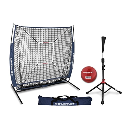 Powernet Praxis Net 5x 5+ tragbar Tee (Paket mit Strike Zone, und Training Ball) für Baseball Softball, navy -