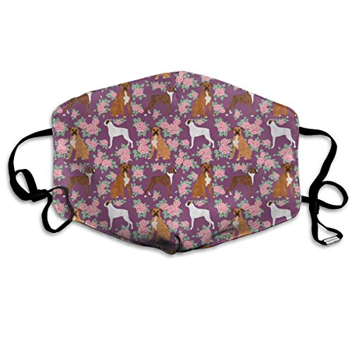 EighthStore Small Boxer Dog Florals Pattern Rose Amethyst Anti Dust Mask Anti Pollution Washable Reusable Mouth Masks Mouth-Muffle Mund Maske - Floral Boxer