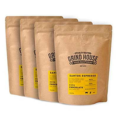 Grind House Santos Espresso Coffee Beans 4 x 1kg by Grind House Speciality Roasters