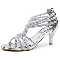 SheSole Ladies Womens Wedding Strappy Heel Party Sandals Prom Shoes Silver UK 7