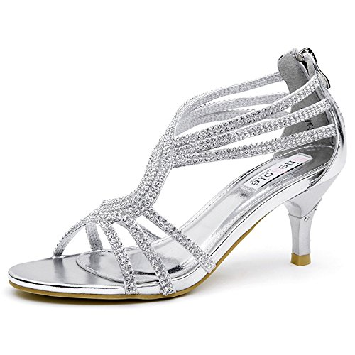 7c4cb069d1 SheSole Ladies Womens Wedding Strappy Heel Party Sandals Prom Shoes Silver  UK 5
