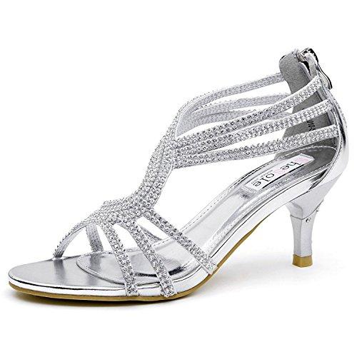 SHESOLE Damen Knöchel-Riemchen Sandalen Mitte Ferse Strass Riemchensandaletten Hochzeit Schuhe Silber 41 (Silber Niedrigen Ferse)