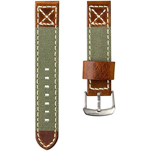 ZULUDIVER® Kanevas & Italienisches Leder Uhrenarmband, Militär Grün & Vintage Braun 20mm