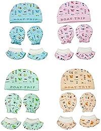 MUM'S MAGIC Born Baby Kids Cotton Caps Booties Mittens Combo Set, 0-6 Months (Multicolour) Pack of 4