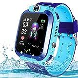 Kids Smartwatch Phone,AMENON IP67 a Prueba de Agua GPS Tracker para Niños Chicos Chicas Gimnasio Rastreador con Ranura para Tarjeta SIM SOS Llame a la Cámara Juego Reloj de Alarma (Azul)