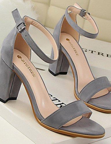 WSS 2016 Chaussures Femme-Décontracté / Soirée & Evénement-Noir / Rose / Rouge / Gris / Amande-Gros Talon-Talons-Talons-Velours red-us7.5 / eu38 / uk5.5 / cn38