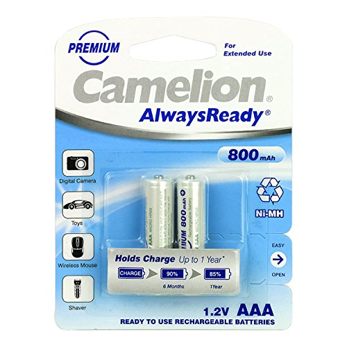 Camelion 17408203 Pack de 2 Piles rechargeables Always Ready NiMH HR03 AAA 800 mAh