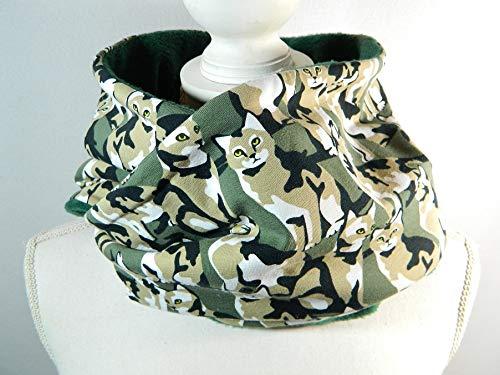 Loop-Schal Camouflage Katze Military Kitty grün Baumwolljersey Fleece HGalstuch ()