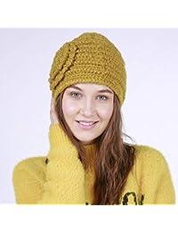 XDXDWEWERT Cappelli e Cappelli Autunno e Inverno Popolare Fatto a Mano  Strisce Orizzontali Moda in Lana Caldo Cappello Femminile (Colore … 3c810149ac5e