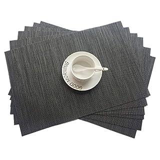 Addfun®Tischsets, Neu PVC Isolierung Rutschfest Isolierung Waschbar Platzdeckchen(Braun, 6er Set)