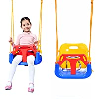 Profun Columpio Infantil 3 en 1 Asiento de Plástico con Respaldo Alto y Protección Frontal Desmontable con Cuerda de 2M Seguro para Bebé Niños (Color1)