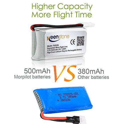 6 Stück Keenstone 3,7V 500mAh 25C LiPO Batterie mit 6-Port-Ladegerät für Hubsan X4 (H107 H107C H107D H107L V252 JXD385 F180C) 4 Kanal 2.4GHz RC QuadCopter Kompatibel mit Walkera Super CP - 3