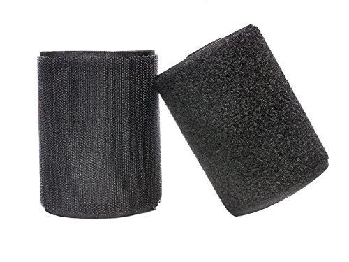 Yolito 10CM × 2M Rolle Klettband und Haken Aufnähen Tapes (Nicht Adhesive) Beide Seiten Enthalten, Schwarz (2 Klett-rollen)