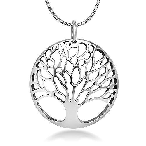 Banyan Tree Roots (Sterling Silber 26mm offen filigran Antike Tree Of Life Symbol Anhänger Halskette rund 45,7cm)