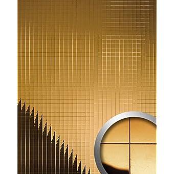 Panel decorativo autoadhesivo flexible mosaico cuadrado WallFace 10582 M-Style con efecto espejo color oro 0,96 m2