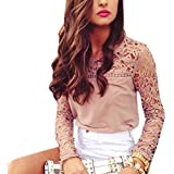 Eleery Fashion Women Ladies V Neck Solid Chiffon Lace Crochet Floral Backless Long Sleeve Stretchy Loose Fit Shirt Casual Blouse Tops