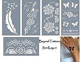 Mikronetz Tattoo Schablonen für Körperbemalung selbstklebend einfach und wiederverwendbar 5 Sheets set Kaya