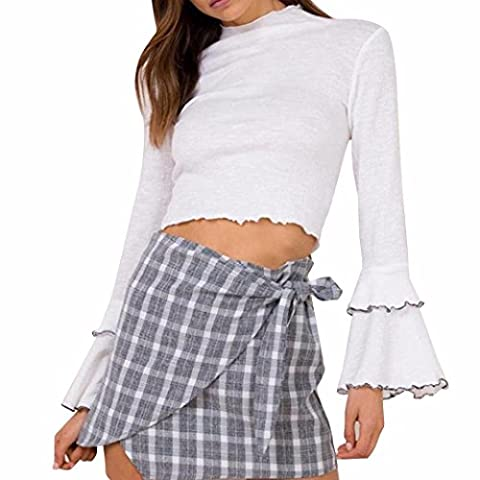 Lady Crop Top,Yannerr Long Flare Sleeve O-Neck T Shirt ,Autumn Casual Shirt (S)
