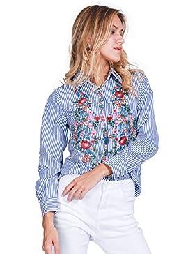 Simplee ropa de manga larga de las mujeres blusa de rayas de algodón bordado floral flor azul botón shirt Top
