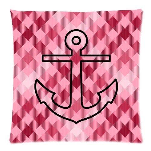 Original chevron Anchor e rosa controllare Custom Soft Home Decor cerniera posteriore gettare federa auto divano copertura del cuscino 50,8x 50,8cm (due lati)