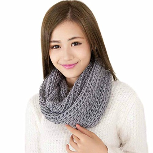 Koly Women Winter Warm Infinity 2 Circle Cable Knitted Cowl Neck Scarf Shawl (Grey)