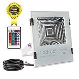 LEDMO 50W projecteur rgb , projecteur led couleur IP65 imperméable ,projecteur exterieur 5000LM , projecteur led exterieur Eclairage RVB.