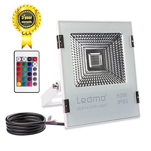 LEDMO 50W Foco LED RGB Proyector LED de colores con control remoto 16 opciones de color 4 Modos luminosos foco exterior IP65 Impermeable 5000lm