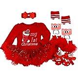 BabyPreg Neonate Mio Primo Natale Costume della Santa del Partito del Vestito 4PCS (S/3-6Mesi, Calza di Natale Rossa)