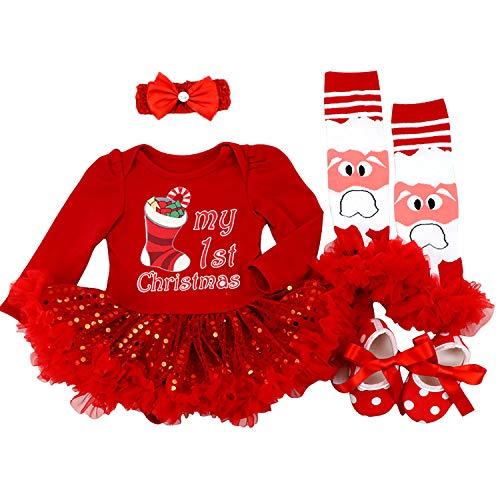 BabyPreg Baby Mädchen Mein erstes Weihnachten Sankt Kostüm-Partei-Kleid 4PCS (L 9-12 Monate, Rote Socke)
