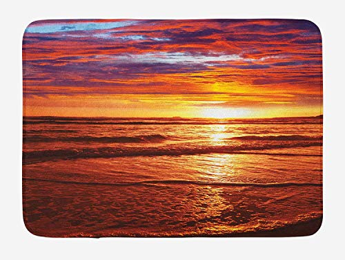 HLKPE Hawaiian Bath Mat, Dramatic Picture of Sunset Over Beach Sun Rays Reflection on Sea Evening View, Plush Bathroom Decor Mat with Non Slip Backing, 23.6 W X 15.7 L Inches, Yellow Orange