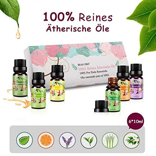 Ätherische Öle Set Aromatherapie Essential Oils für Diffuser Bio - 100% Reines Aroma Duftöle - Teebaumsöl, Lavendelöl, Pfefferminzöl, Eukalyptusöl, Zitronengrasöl, Süßorangeöl MEHRWEG -