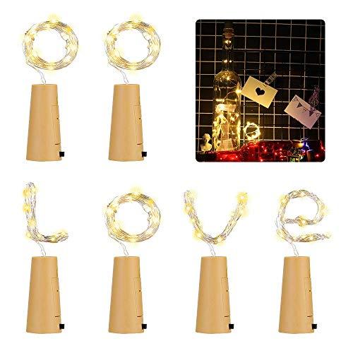 6x 20 LED Flaschen-Licht, 2m Weinflaschen Lichter Warmweiß Kupferdraht Flaschenlicht Nacht Lichter Sternenlicht für Flasche DIY, Weihnachten, Hochzeit und Party Halloween [Energieklasse A+++] (6 pack)