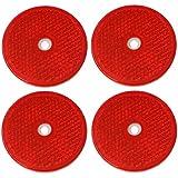 AERZETIX: 4 x Catadioptrico adhesivo redondo rojo 61mm para coche motocicleta bicicleta camión remolque