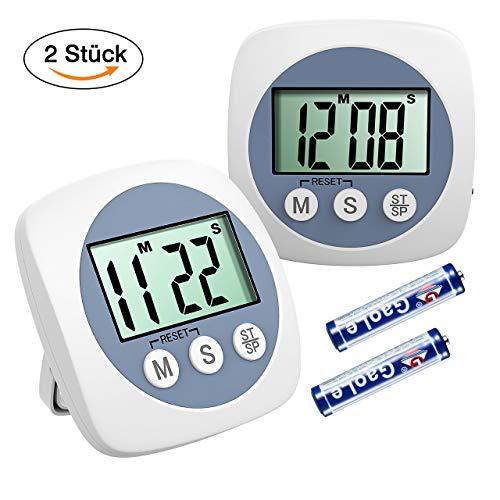 HABOR Küchenuhr Timer 2 Stück Küchentimer LCD-Bildschirm, Küchentimer Digital Lauter Piepser,...