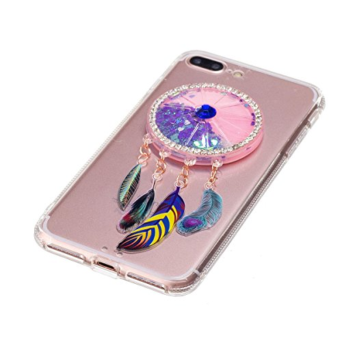 iPhone 7 Plus Hülle, iPhone 7 Plus Liquid Hülle, Gift_Source [ Bär ] Glitzer Hülle , Liquid Case, Glitter Hülle Cool 3D Fließen Flüssig Bling Schwimmend Treibsand Stern Luxus Shiny Case Glanz Shiny Ef E1-Lila Traumfänger